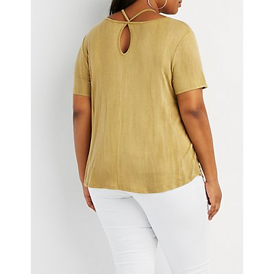 Plus Size Strappy-Neck Boyfriend Tee