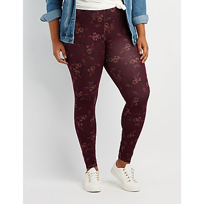 Plus Size Floral Print Leggings