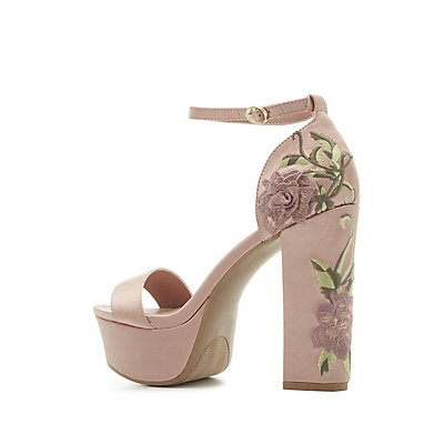 Floral Embroidered Ankle Strap Platform Sandals