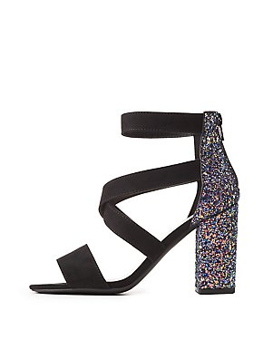 Glitter-Trim Strappy Sandals