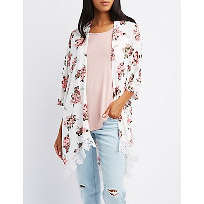 Floral Crochet-Hem Kimono
