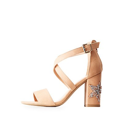 Embellished Block Heel Crisscross Sandals