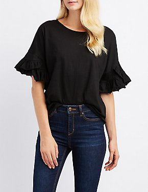 Ruffle-Trim Crew Neck Tee