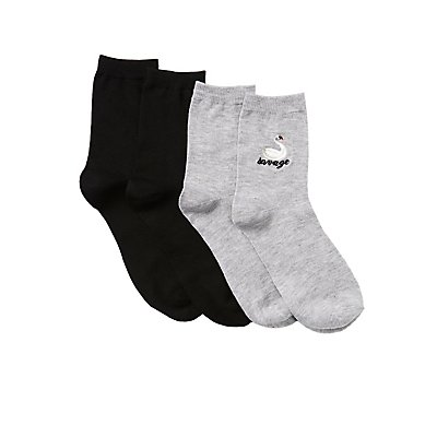 Savage Swan Crew Socks - 2 Pack