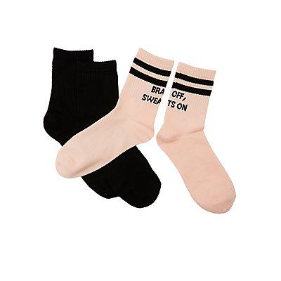 Bra Off, Sweats On Crew Socks - 2 Pack