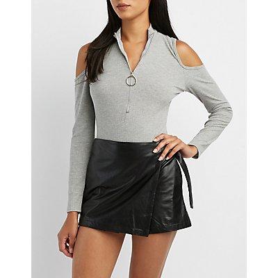 Ribbed Zip-Front Bodysuit