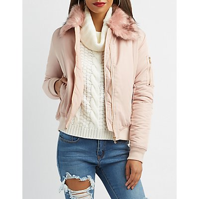 Faux Fur Collared Bomber Jacket