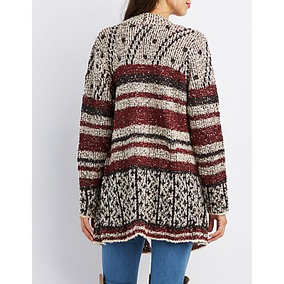 Striped Open-front Cascade Cardigan