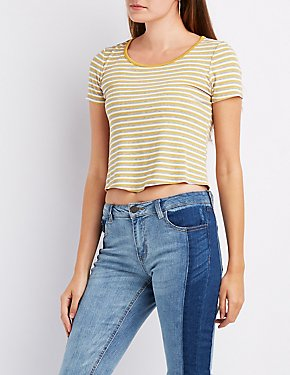 Striped Scoop Neck Crop Top