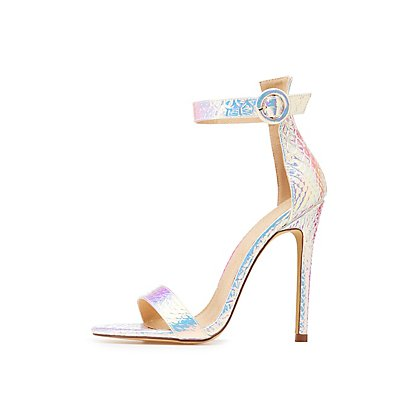 Holographic Faux Snakeskin Ankle Strap Sandals