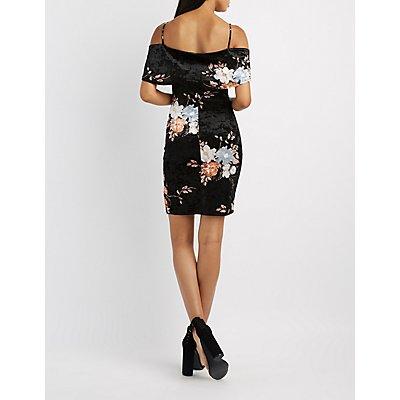 Floral Velvet Cold Shoulder Dress