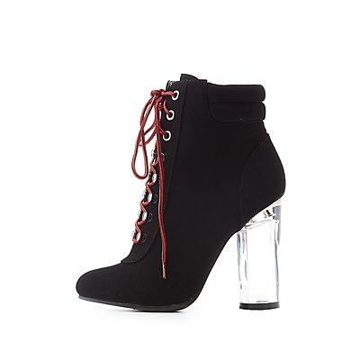 Lace-Up Clear Heel Combat Booties
