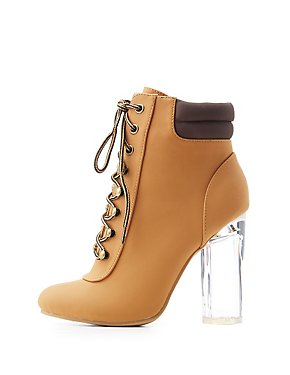Lace-Up Lucite Heel Combat Booties