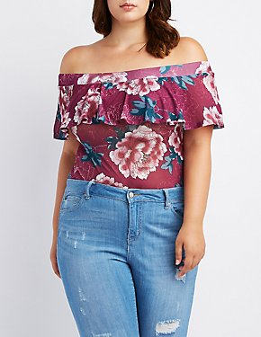Plus Size Floral Ruffle Off-The-Shoulder Bodysuit