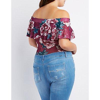 Plus Size Floral Ruffle Off-The-Shoulder Bodysuit