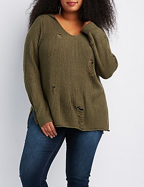 Plus Size Distressed Hooded Shaker Stitch Sweater
