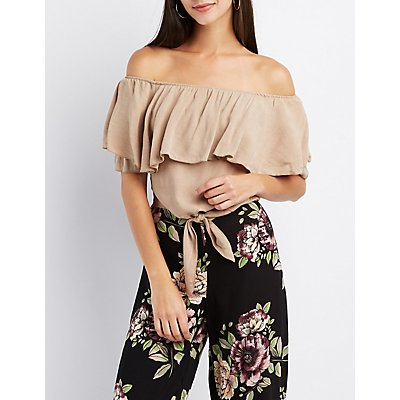 Ruffle-Trim Off-The-Shoulder Crop Top