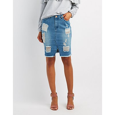 Refuge Destroyed Denim Pencil Skirt