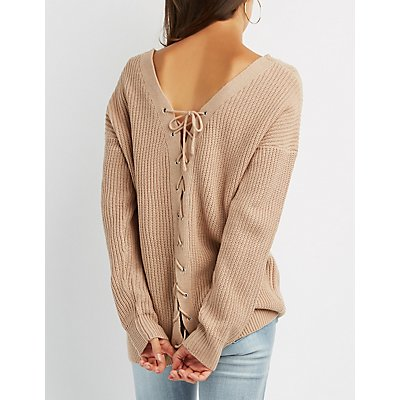 Deep V-Neck Shaker Knit Sweater