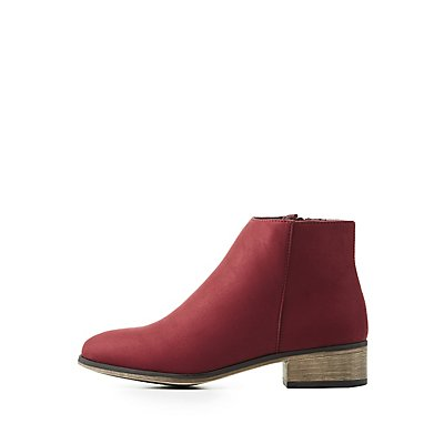 Bamboo Faux Suede Flat Chelsea Booties