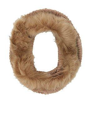 Fur-Trim Shaker Stitch Infinity Scarf