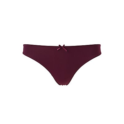 Crochet-Trim Caged-Back Thong Panties