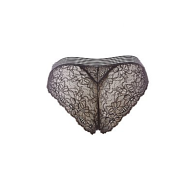 Plus Size Mesh-Trim Lace-Back Cheeky Panties