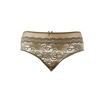 Plus Size Lace Mesh-Trim Hipster Panties