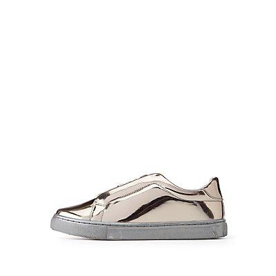 Qupid Metallic Zip-Up Sneakers