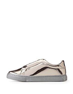 Qupid Metallic Zip-Up Sneakers