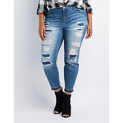 Plus Size Refuge Destroyed Patchwork Skinny Jeans