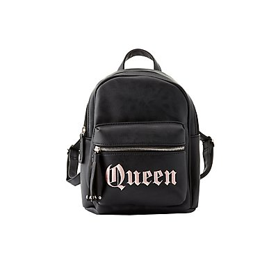 Queen Faux Leather Backpack