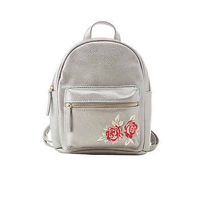 Floral Patch Faux Leather Backpack