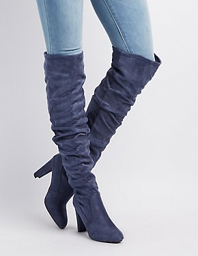 Faux Suede Almond Toe Over-The-Knee Boots