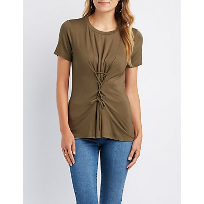 Lace-Up Detail Boyfriend Tee