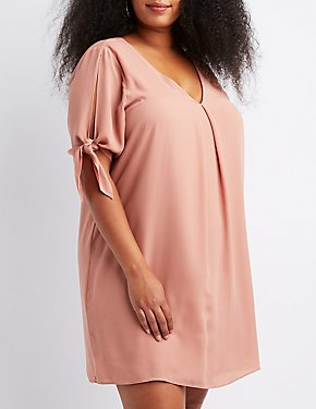 Plus Size Split Tie-Sleeve Shift Dress
