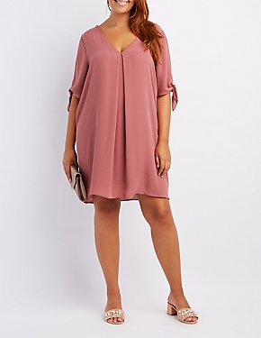 Plus Size Tie-Sleeve Shift Dress