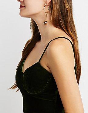 Geometric Drop Hoop Earrings