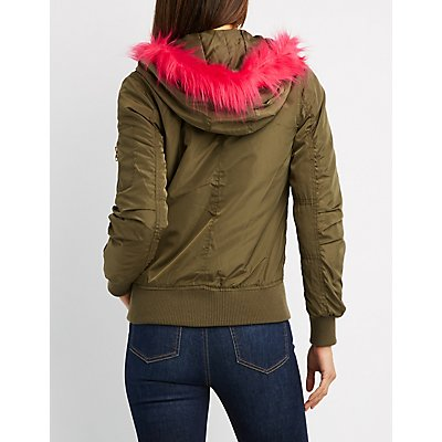Fleece Lined Faux Fur-Trim Hooded Bomber Jacket