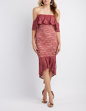 Off-The-Shoulder Lace High-Low Maxi