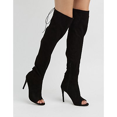 Faux Suede Lace-Up Back Over-The-Knee Boots