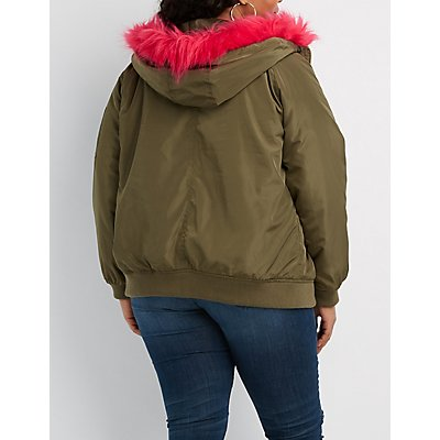 Plus Size Faux Fur Hooded Heavy Bomber Jacket