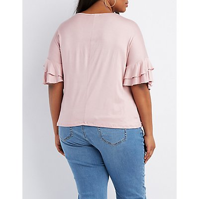 Plus Size Ruffle Sleeve Knotted Tee