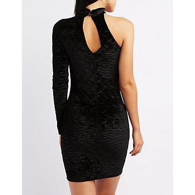 Choker Neck One Shoulder Bodycon Dress