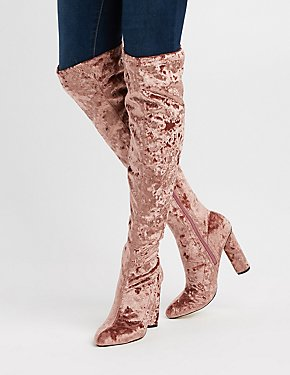 Crushed Velvet Over-The-Knee Boots