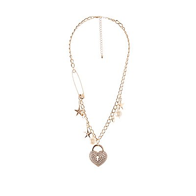 Embellished Heart Charm Statment Necklace