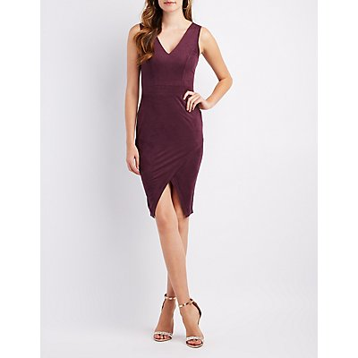 Faux Suede Wrap Bodycon Dress