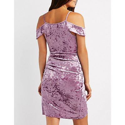 Velvet Cold Shoulder Wrap Dress