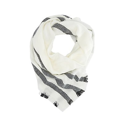 Striped Woven Blanket Scarf