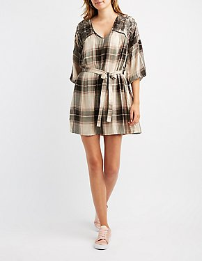 Embroidered Plaid Shift Dress